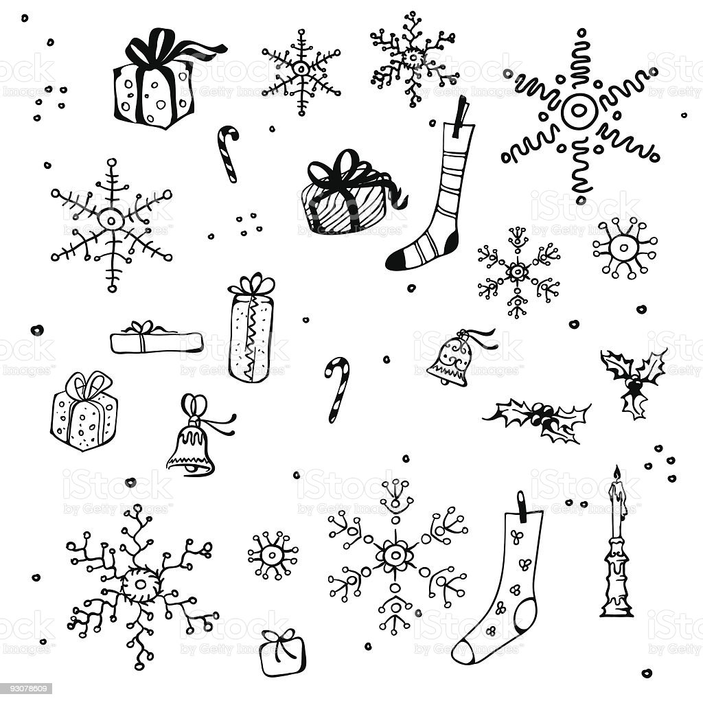 New Year and Christmas design elements, bw royalty-free stock vector art