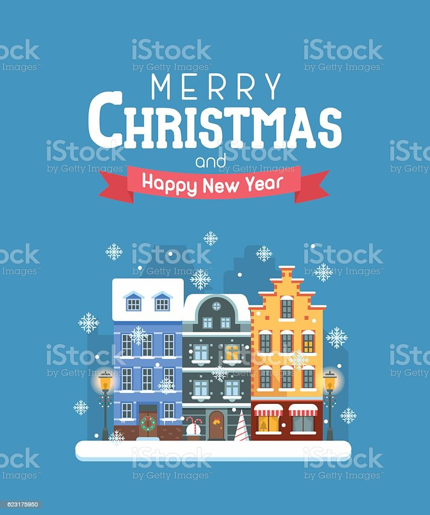 New Year and Christmas Greeting Card vector art illustration