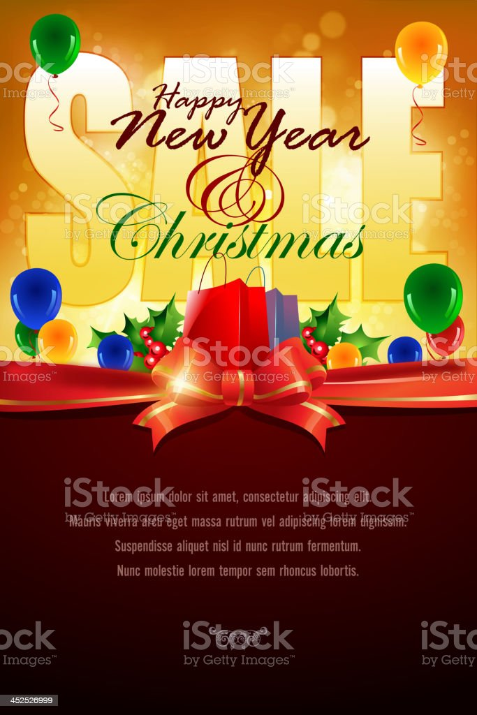 New Year and Christmas Sales Promotion Background royalty-free stock vector art