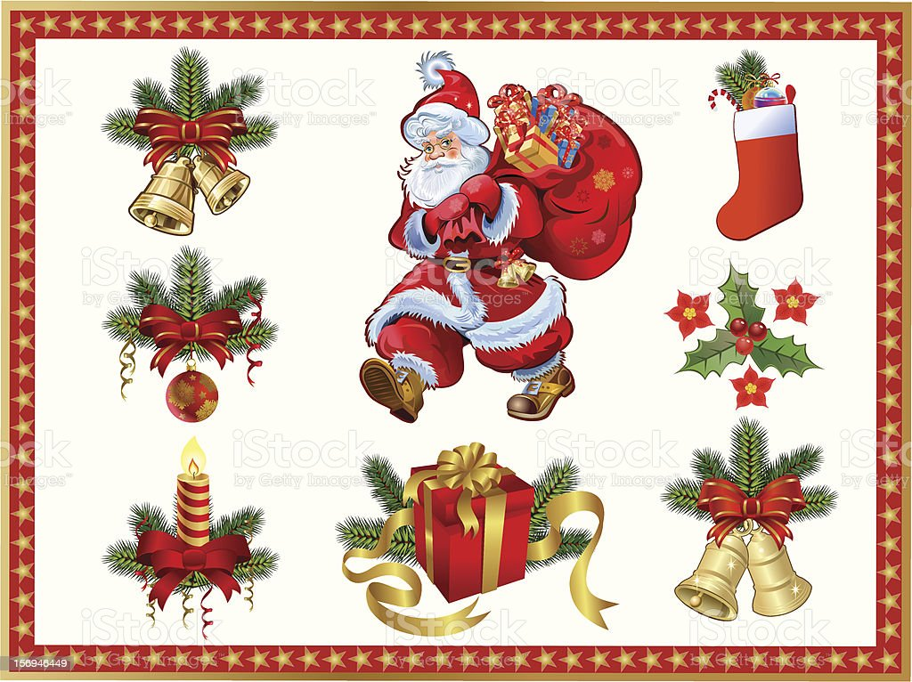 New Year and  Christmas set royalty-free stock vector art