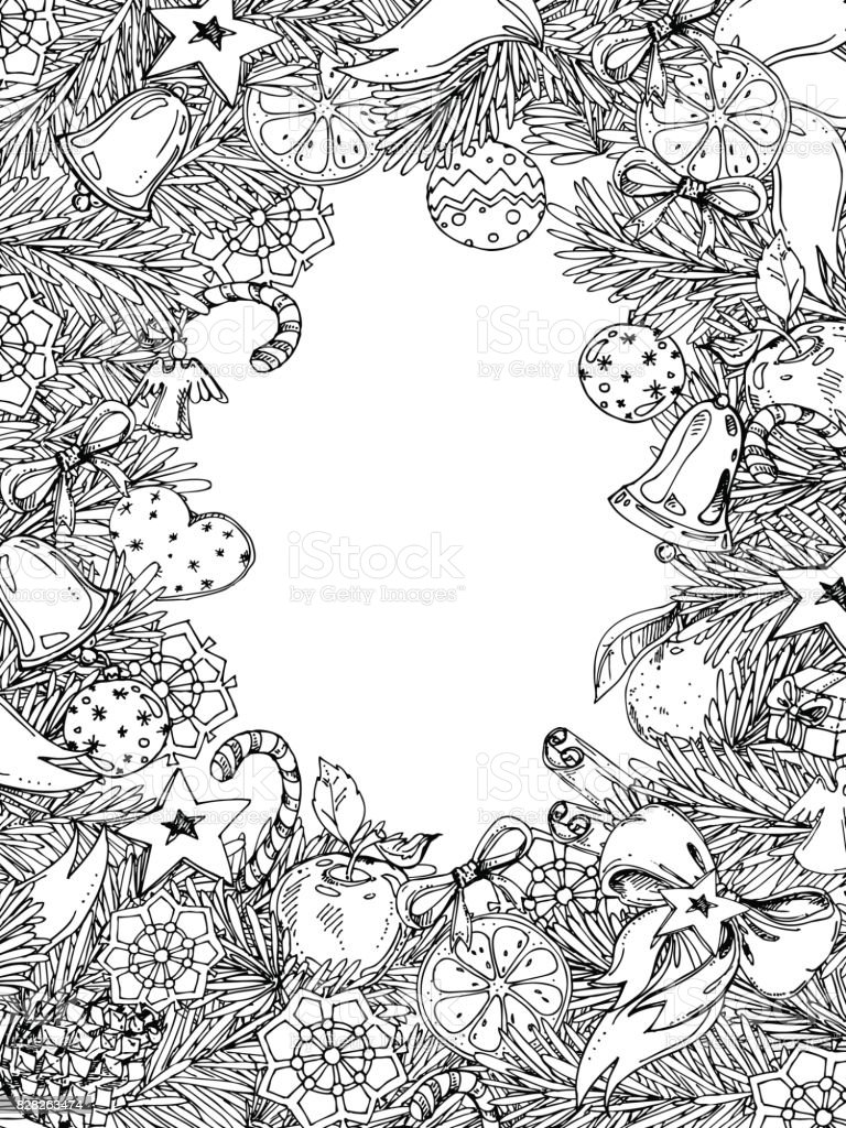 new year and christmas vertical frame for coloring book for