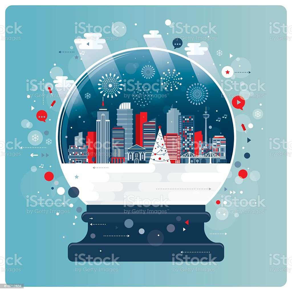 New Year And Xmas Glass Ball vector art illustration