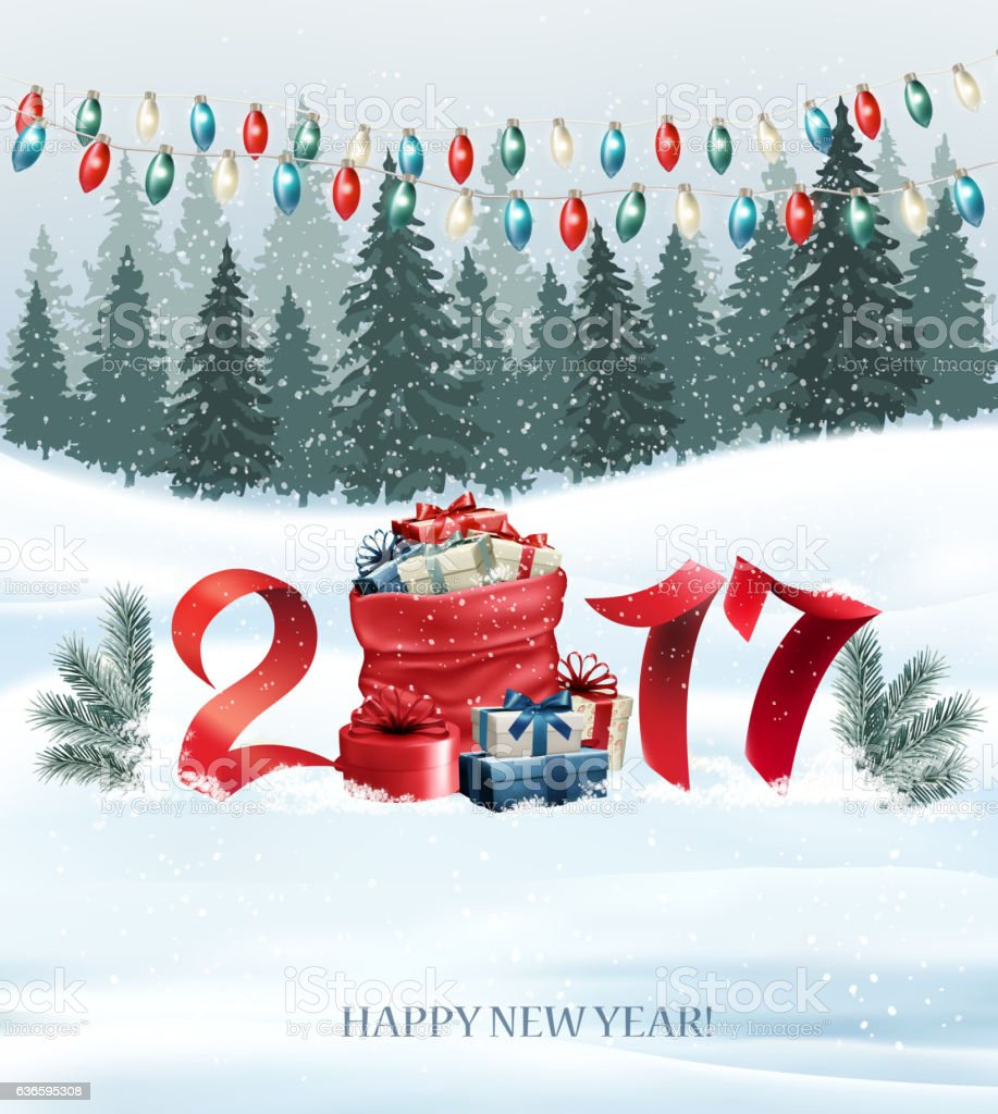 New Year background with 2017 and sack with presents. Vector vector art illustration