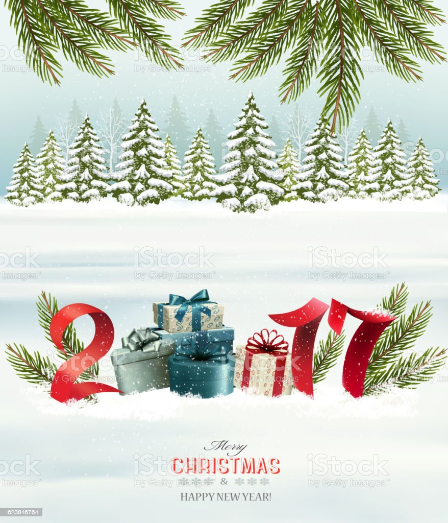 New Year background with a 2017 and gift boxes. Vector vector art illustration