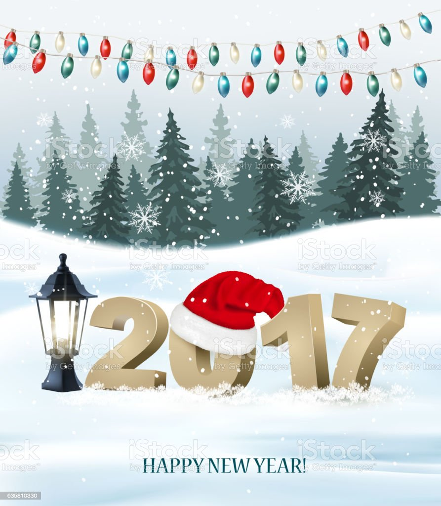 New Year background with a 2017 and santa hat. Vector vector art illustration