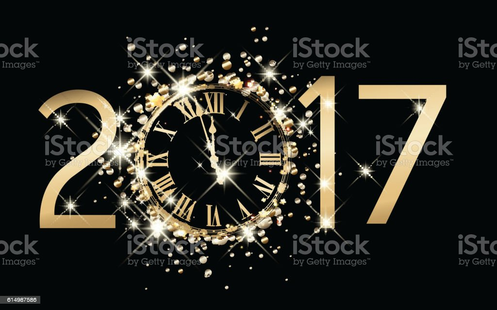 2017 new year background with clock. vector art illustration