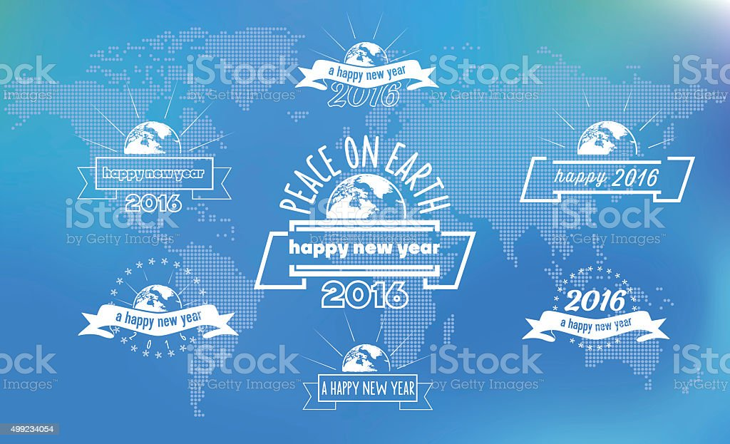 new year badges on world map made of dots vector art illustration