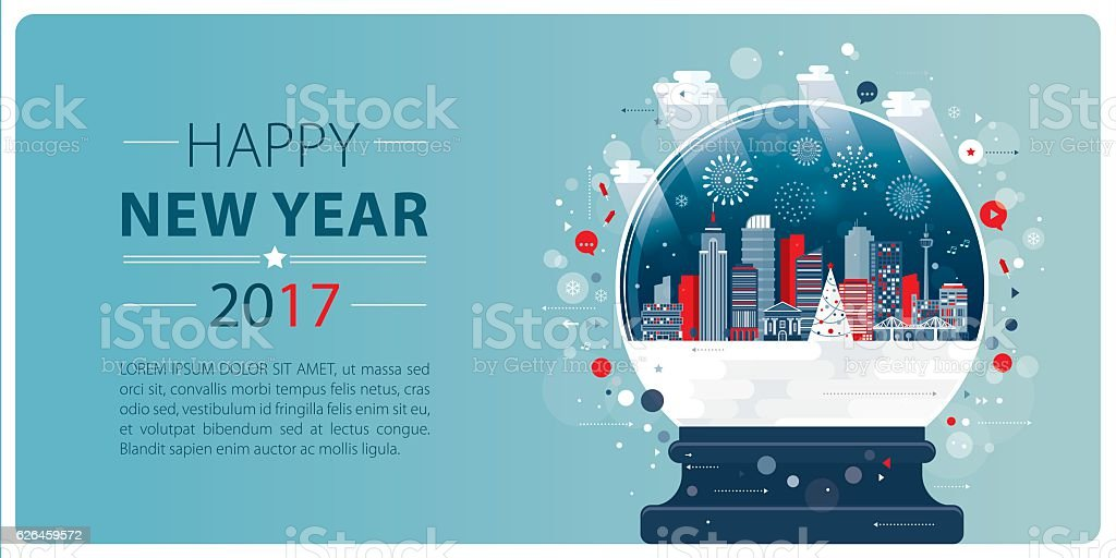 New Year Banner Xmas Glass Ball vector art illustration