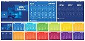 New year calendar 2017 set include twelve months modern design