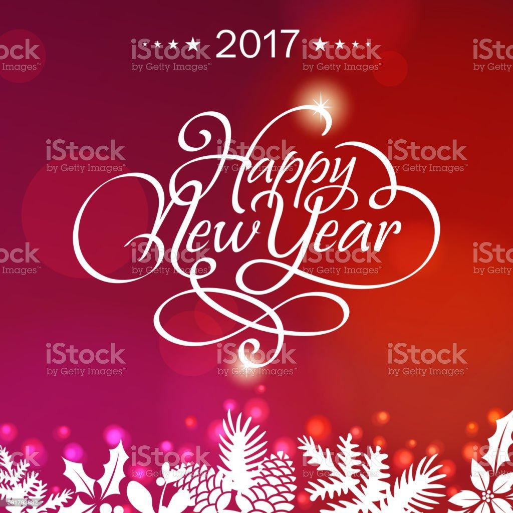 New Year Calligraphy 2017 vector art illustration
