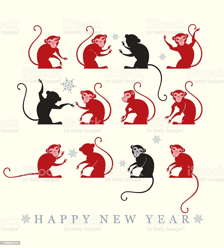 New year Card. 2016. vector art illustration