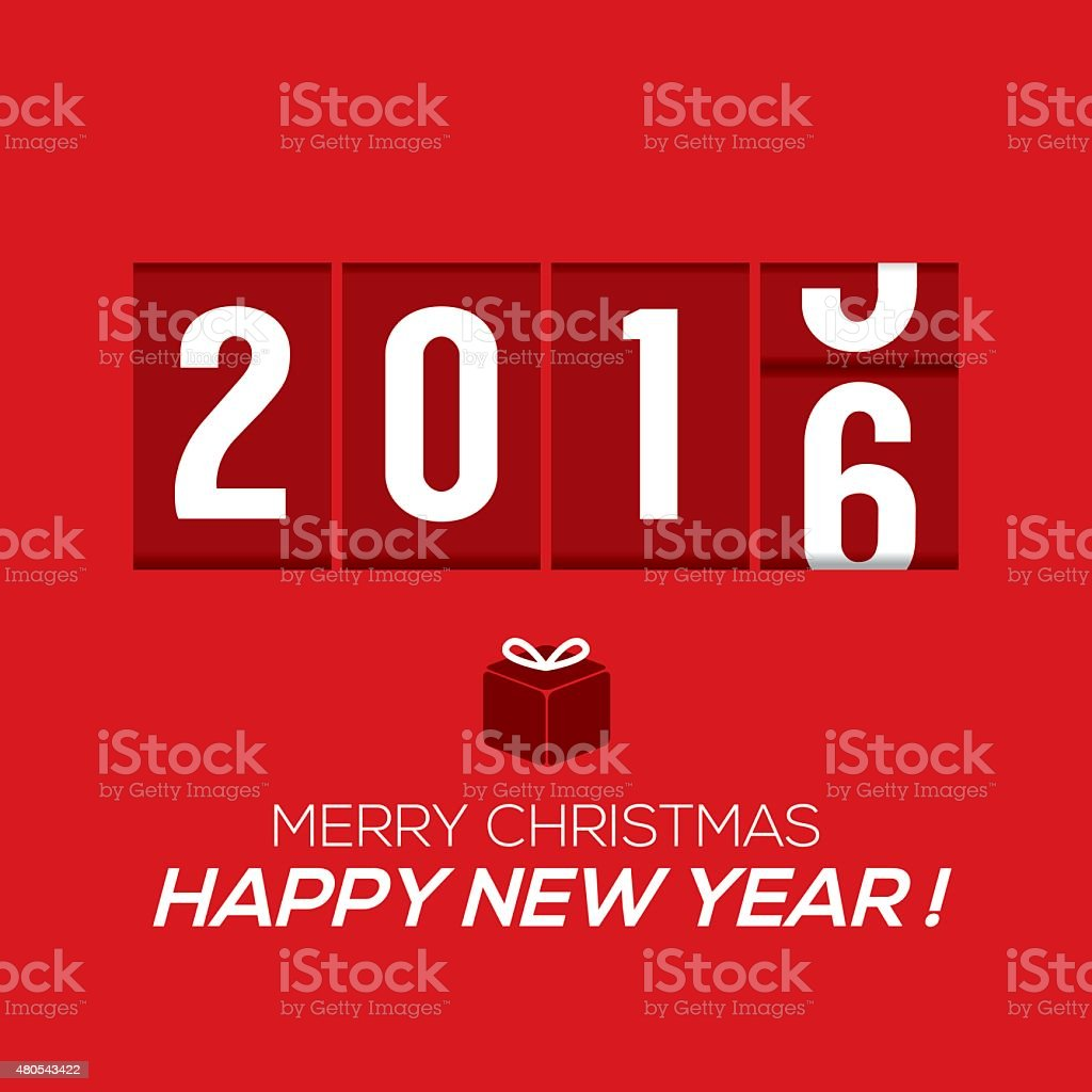2016 New Year Card Odometer Style vector art illustration