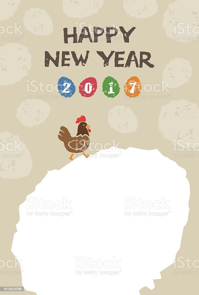 New Year card with chicken and colorful eggs vector art illustration