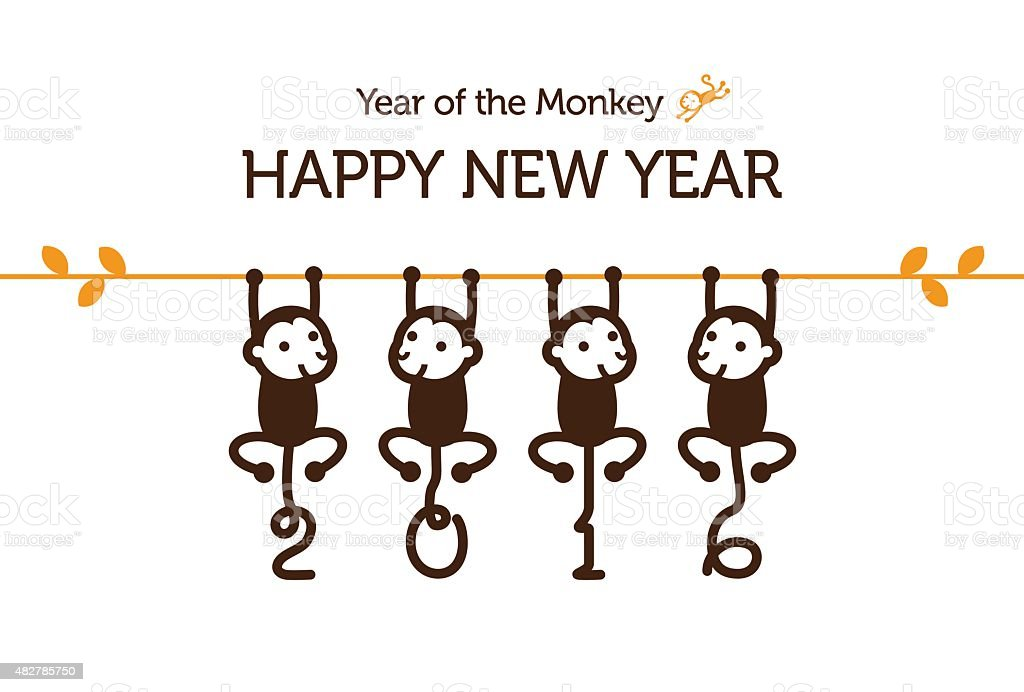 New Year card with Monkey vector art illustration