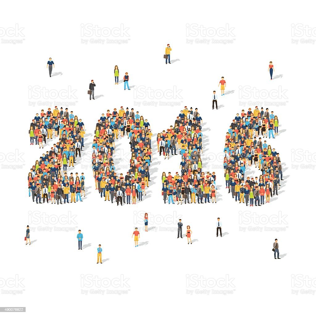 New year celebration concept. People forming 2016 vector art illustration