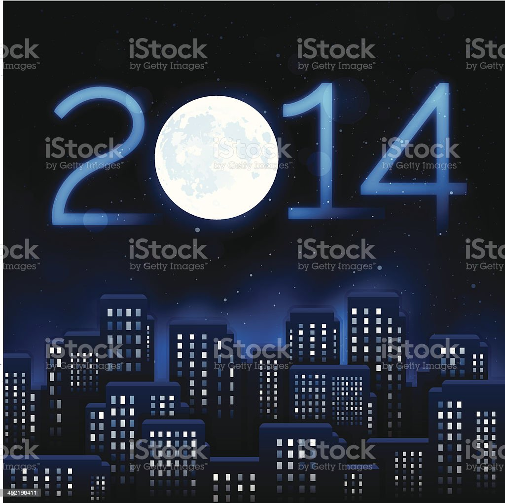 New Year City 2014 vector art illustration