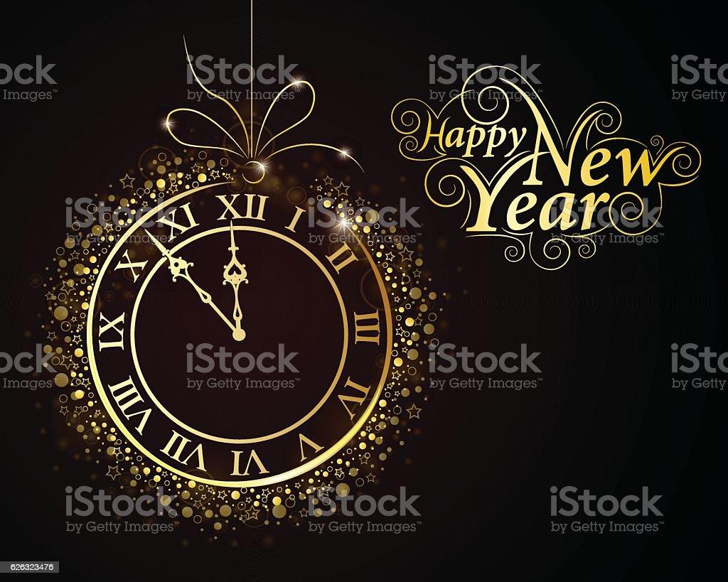 New Year Clock vector art illustration