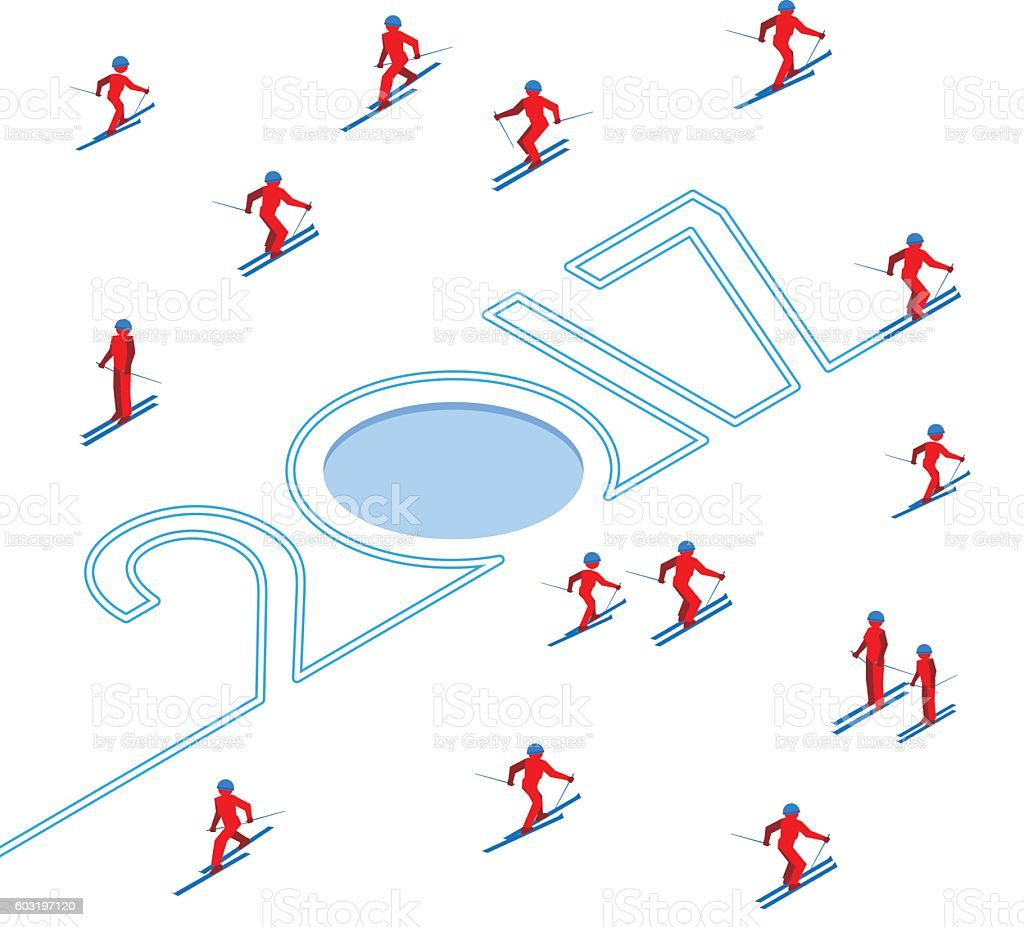 New Year concept: skier write numbers, people around vector art illustration