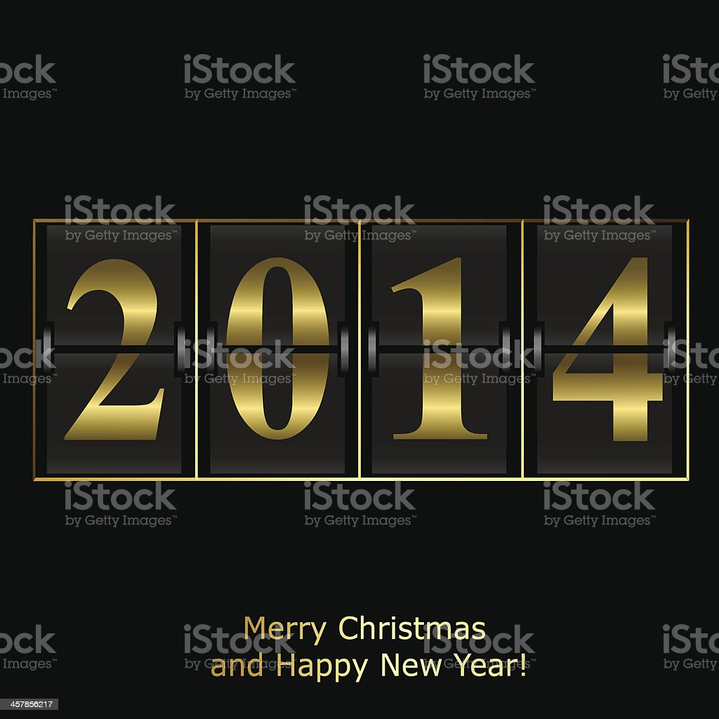 New Year counter in gold design vector art illustration