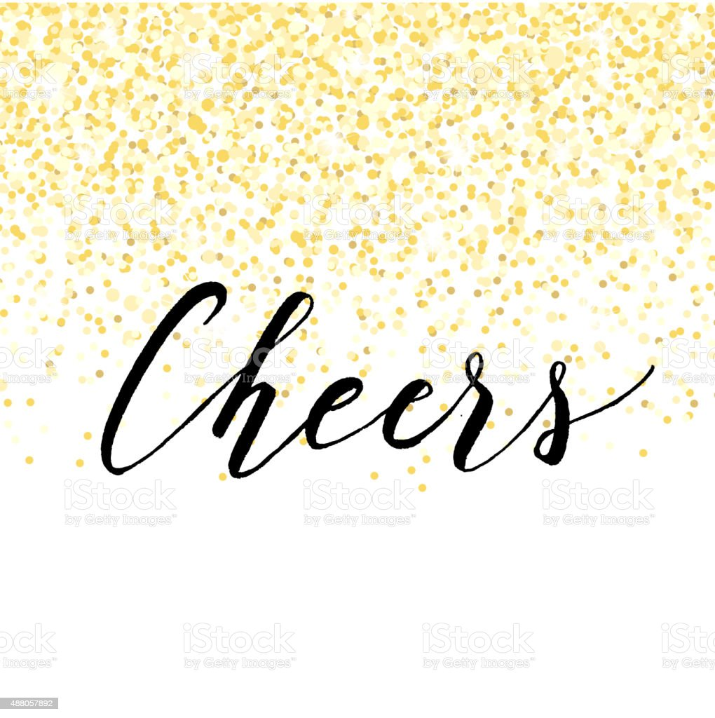 New Year design with golden confetti and lettering vector art illustration