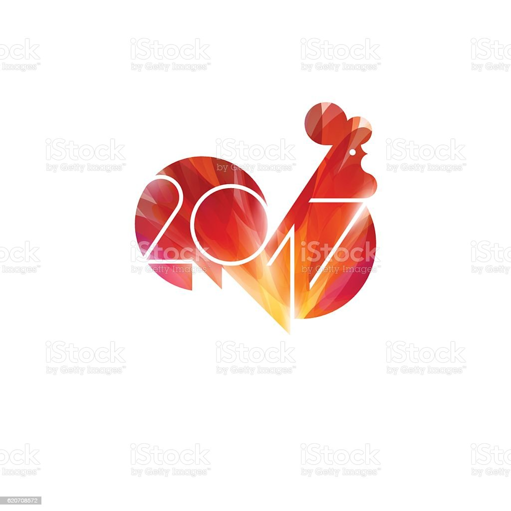 New Year design with silhouette of red fire rooster vector art illustration