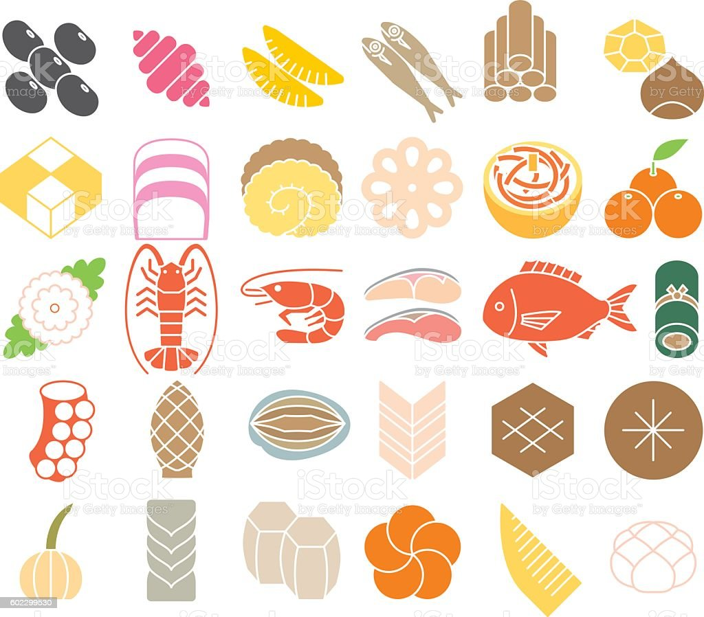 New Year dishes. Cuisine of the Japanese New Year. vector art illustration