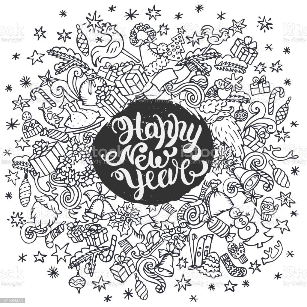 New year doodle background vector art illustration