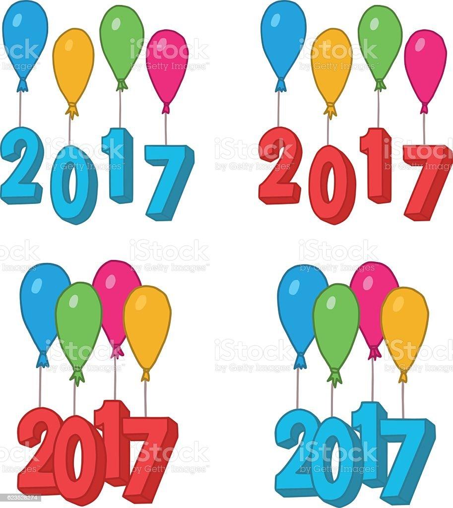 New Year Doodles Balloons 2017 vector art illustration