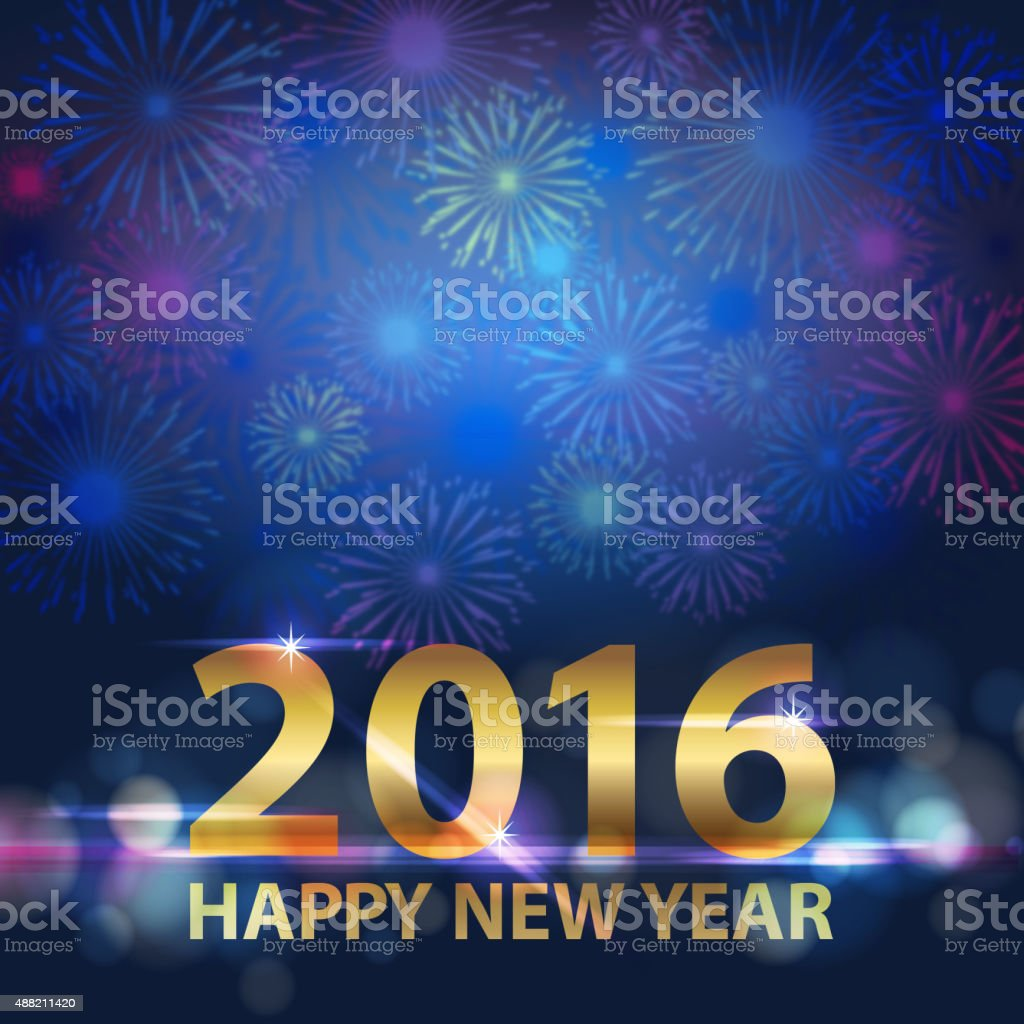 2016 New Year Firework vector art illustration