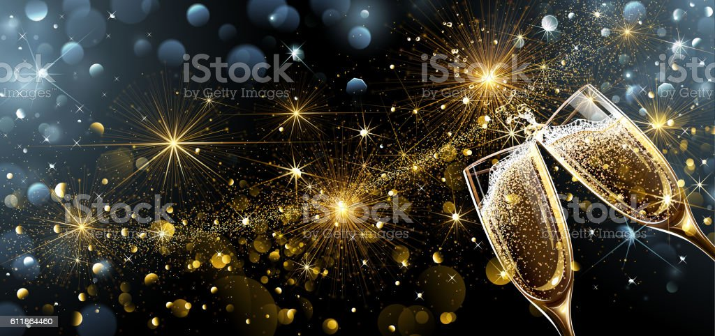 New Year fireworks and champagne vector art illustration