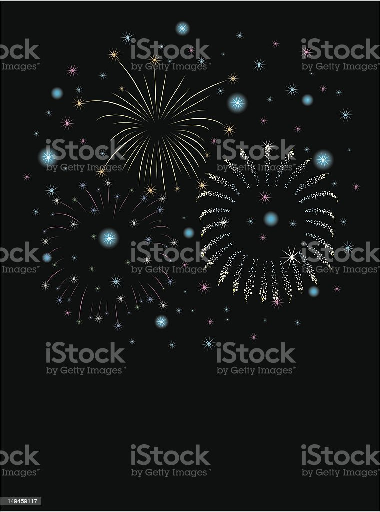 new year fireworks / blue royalty-free stock vector art