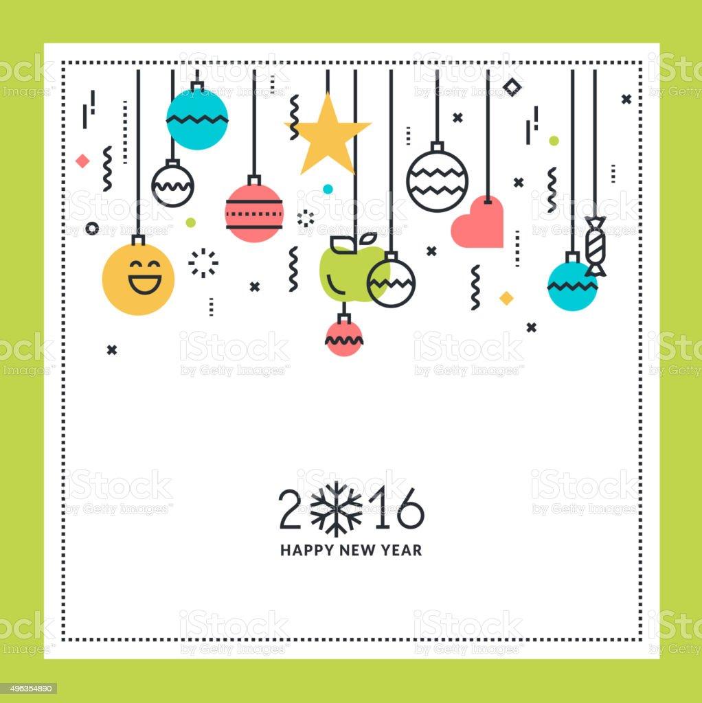 Año nuevo diseño de tarjeta de felicitación con pantalla plana illustracion libre de derechos libre de derechos