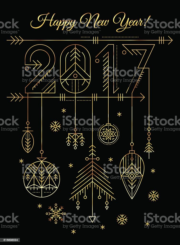 New Year Greeting Card Template With 2017 Sign And Decorations