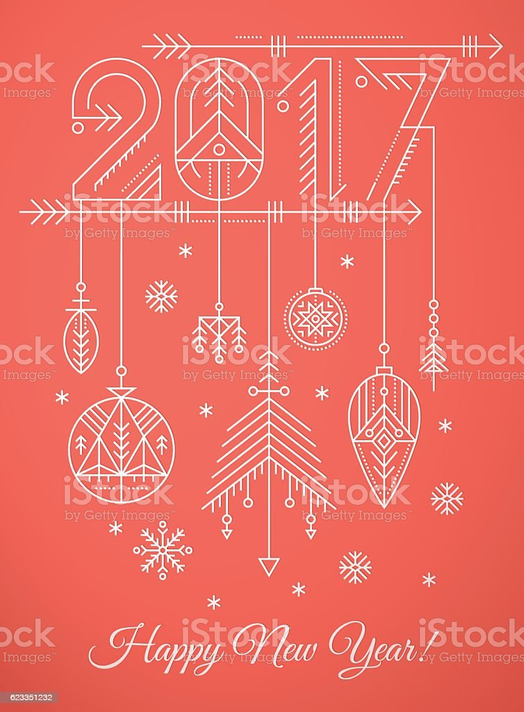 New Year Greeting Card Template With  Sign And Decorations