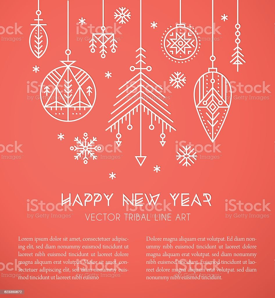 New Year Greeting Card Template With Hanging Decorations And – New Year Greeting Card Template