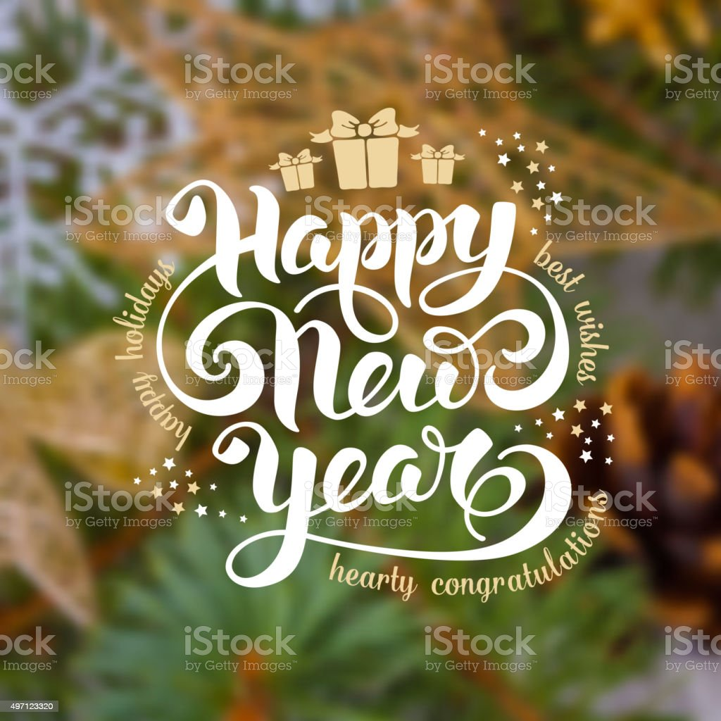 New Year greeting card vector art illustration