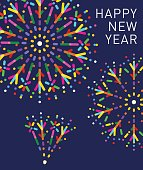 New Year Greeting with fireworks