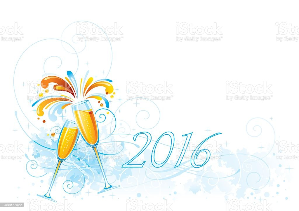 New Year holiday champagne background vector art illustration