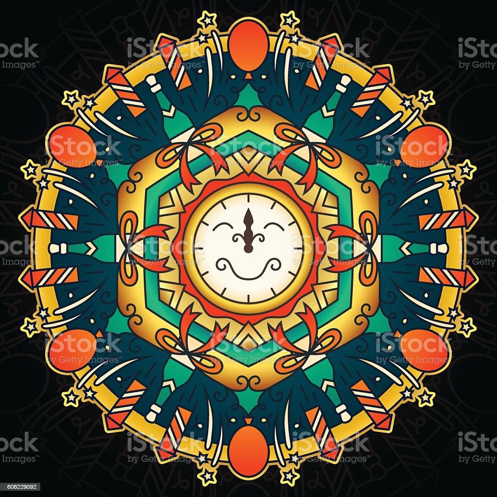 New Year Holiday Mandala vector art illustration
