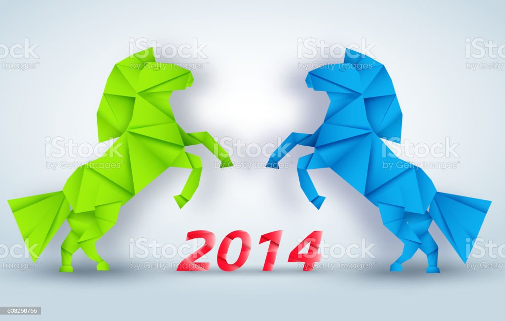 New year Horse Set illustration royalty-free stock vector art