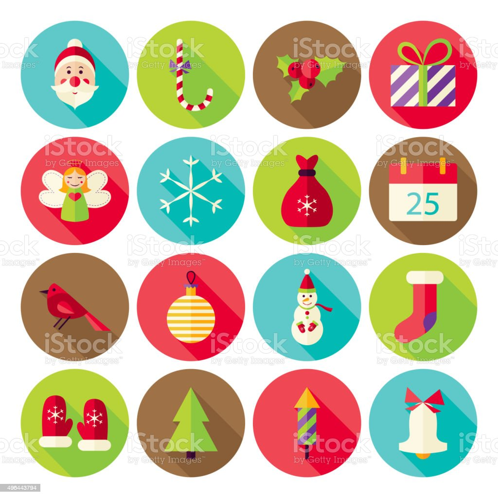 New Year Merry Christmas Circle Icons Set with long Shadow vector art illustration