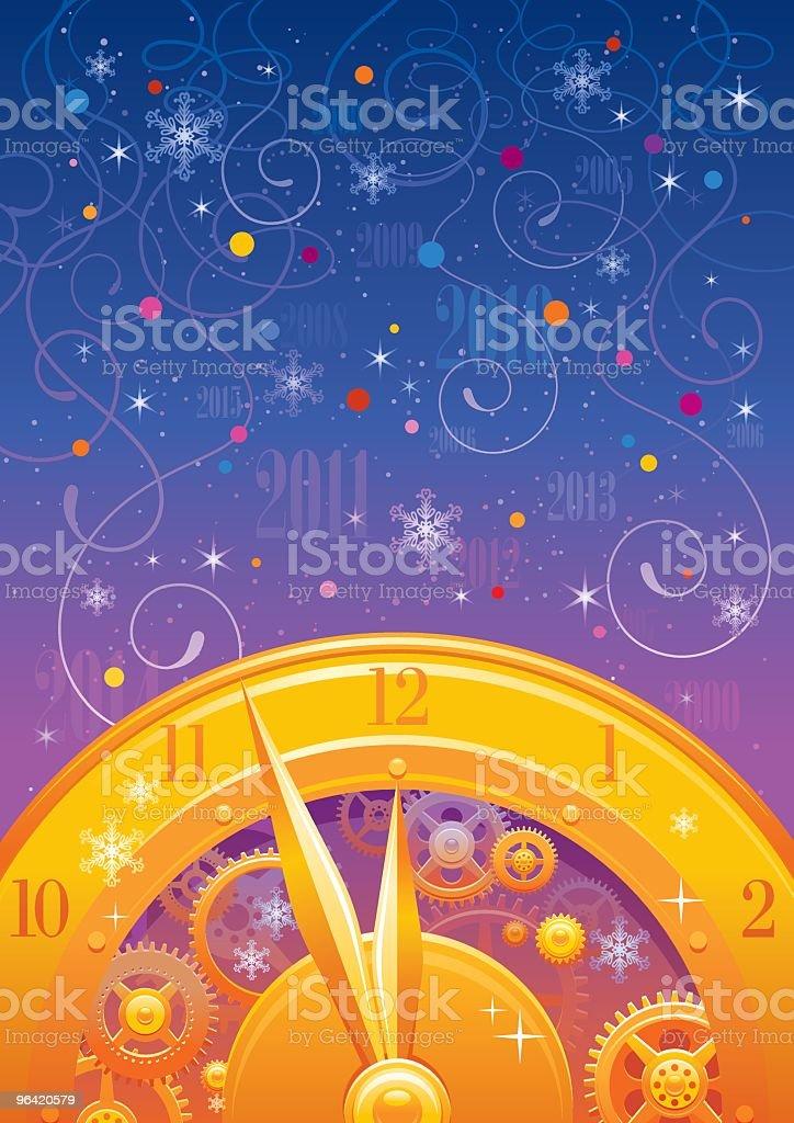 New Year midnight clock background vector art illustration