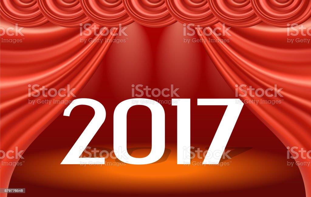 New year of 2017 vector art illustration