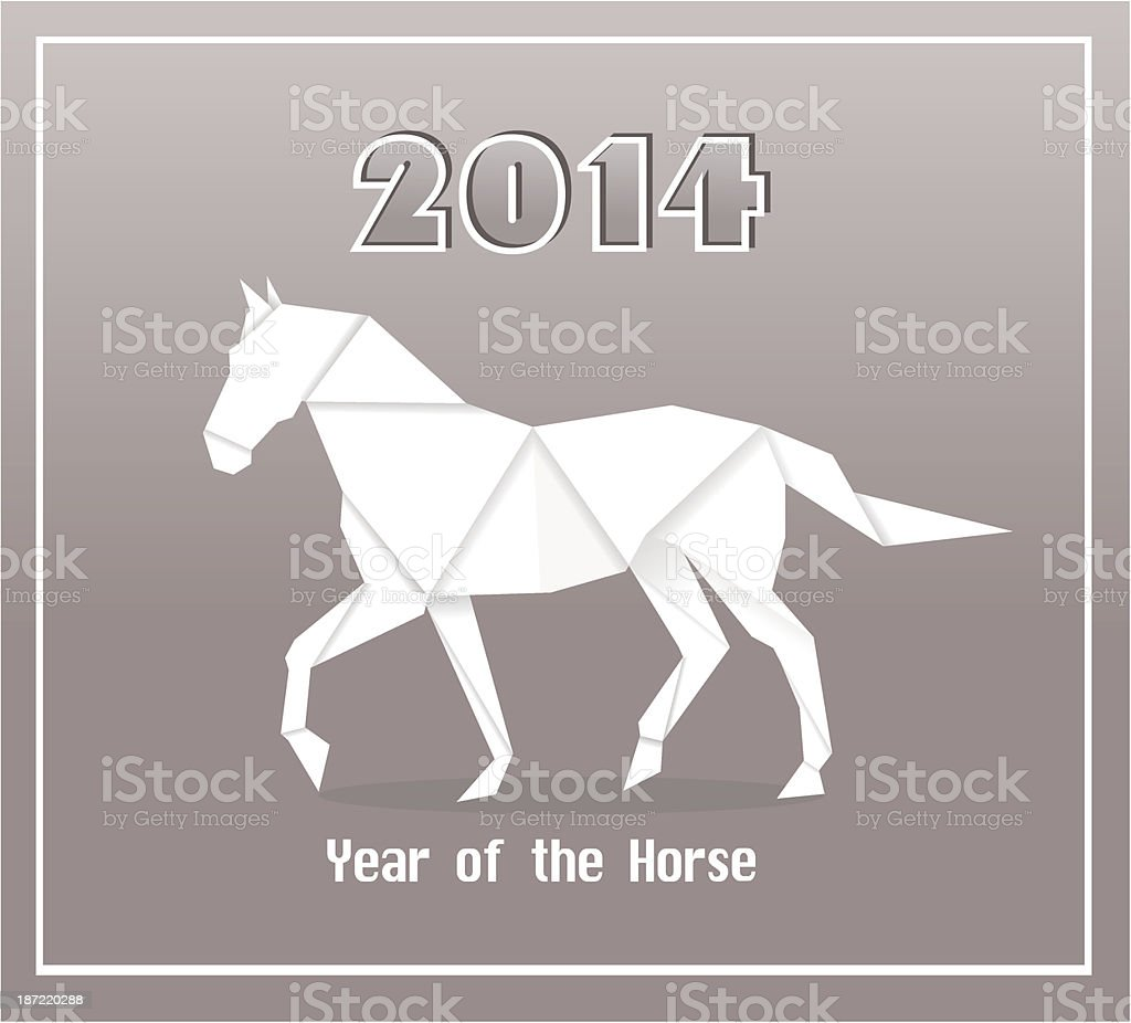 New year origami paper horse royalty-free stock vector art