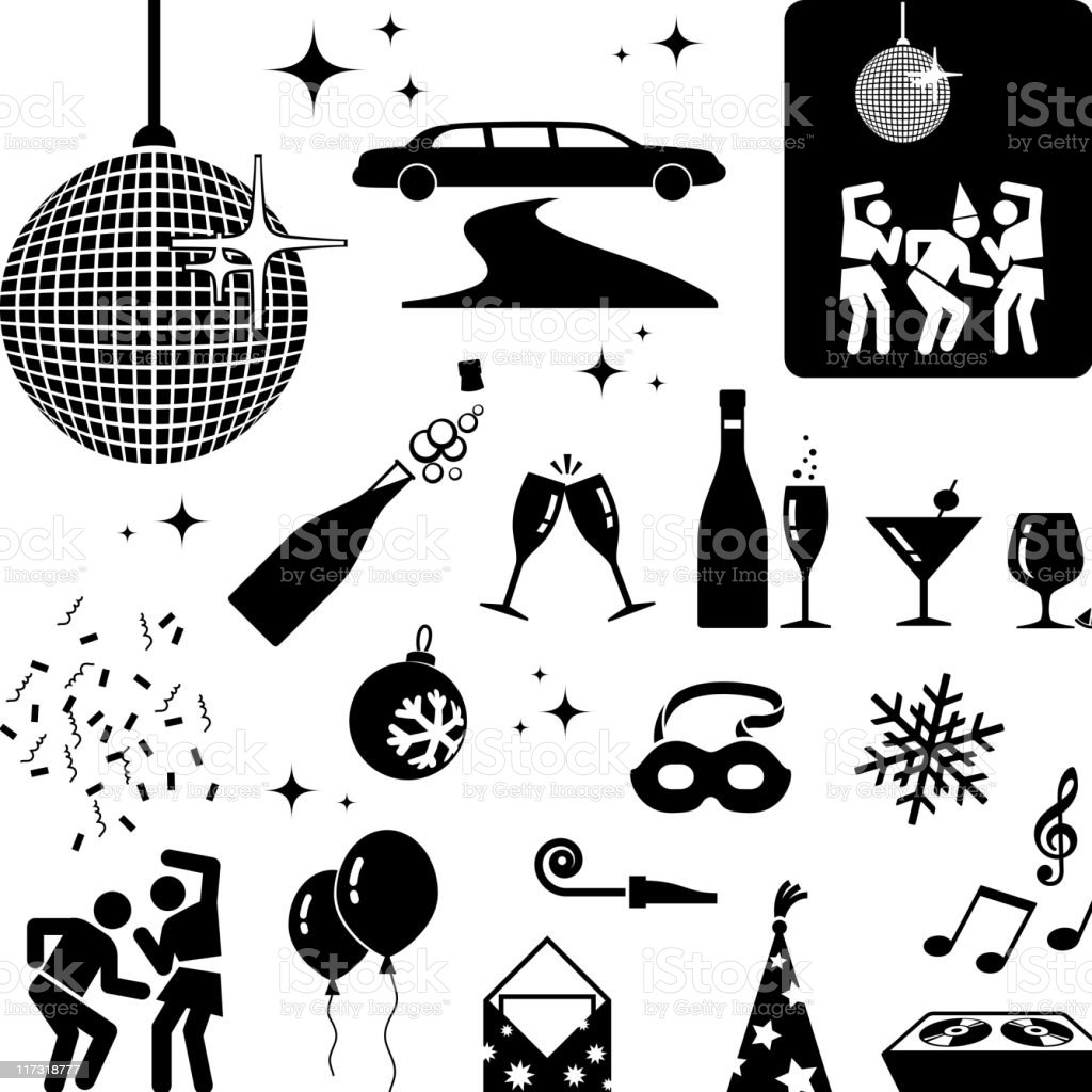 New Year party black and white icon set vector art illustration