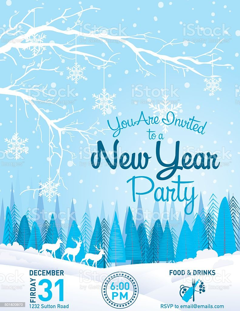 New Year Party Invitation Winter Landscape vector art illustration