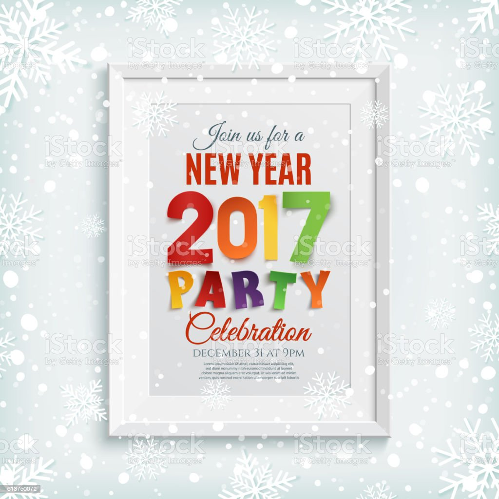 New Year Party Poster Brochure Or Invitation Template stock vector ...