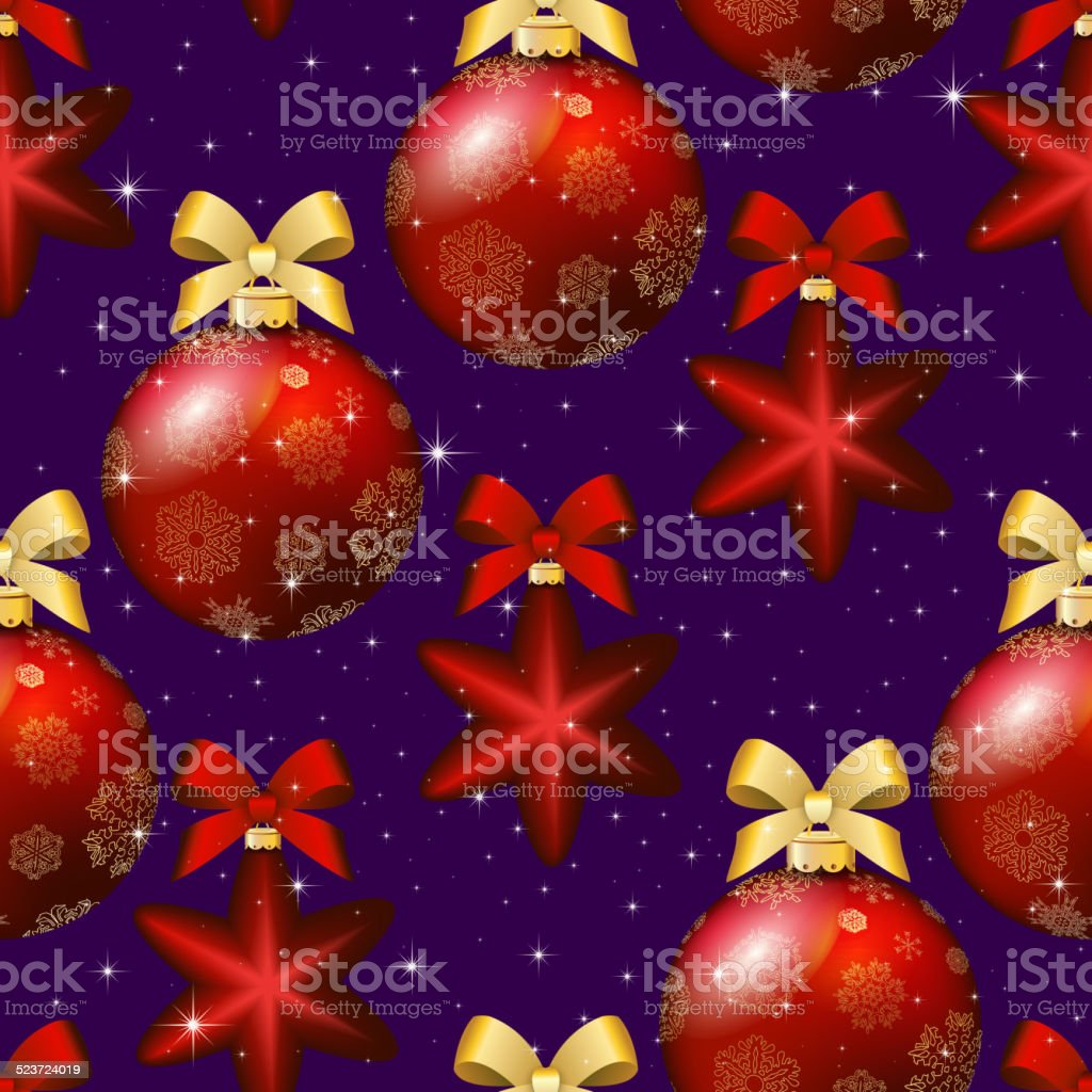 New Year pattern with ball. Christmas wallpaper with bow vector art illustration