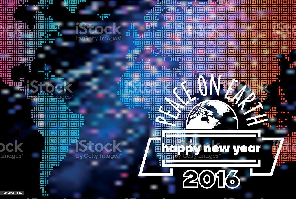 new year peace symbol on blurred vibrant world background stock photo