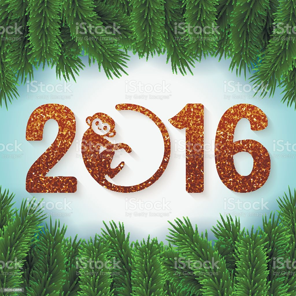 New Year postcard with golden text and fir branches vector art illustration